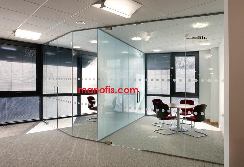 man Office glass pane view